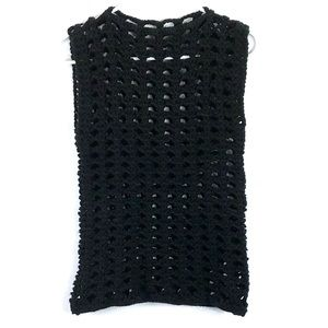 Crochet black knit handmade sleeveless sweater